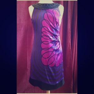 Silk dress with Mod flower design